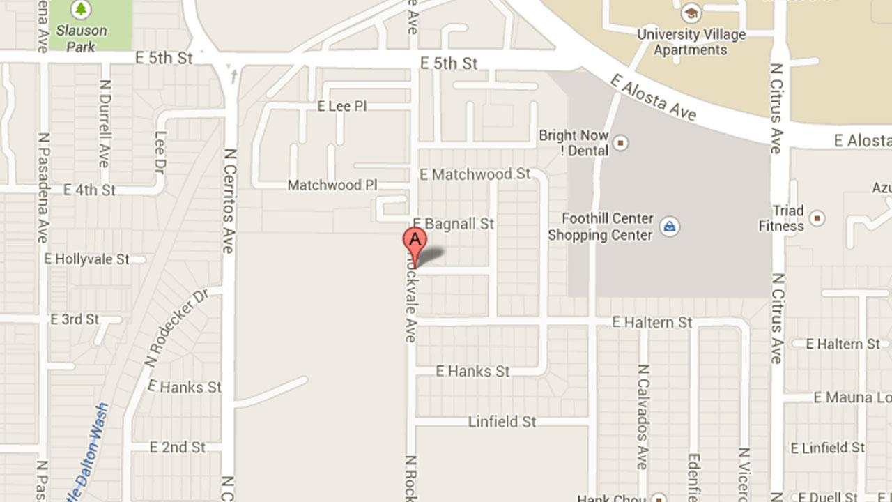 A map indicates the 300 block of North Rockvale Avenue in Azusa, where a shooting victim was found on Monday, July 29, 2013.
