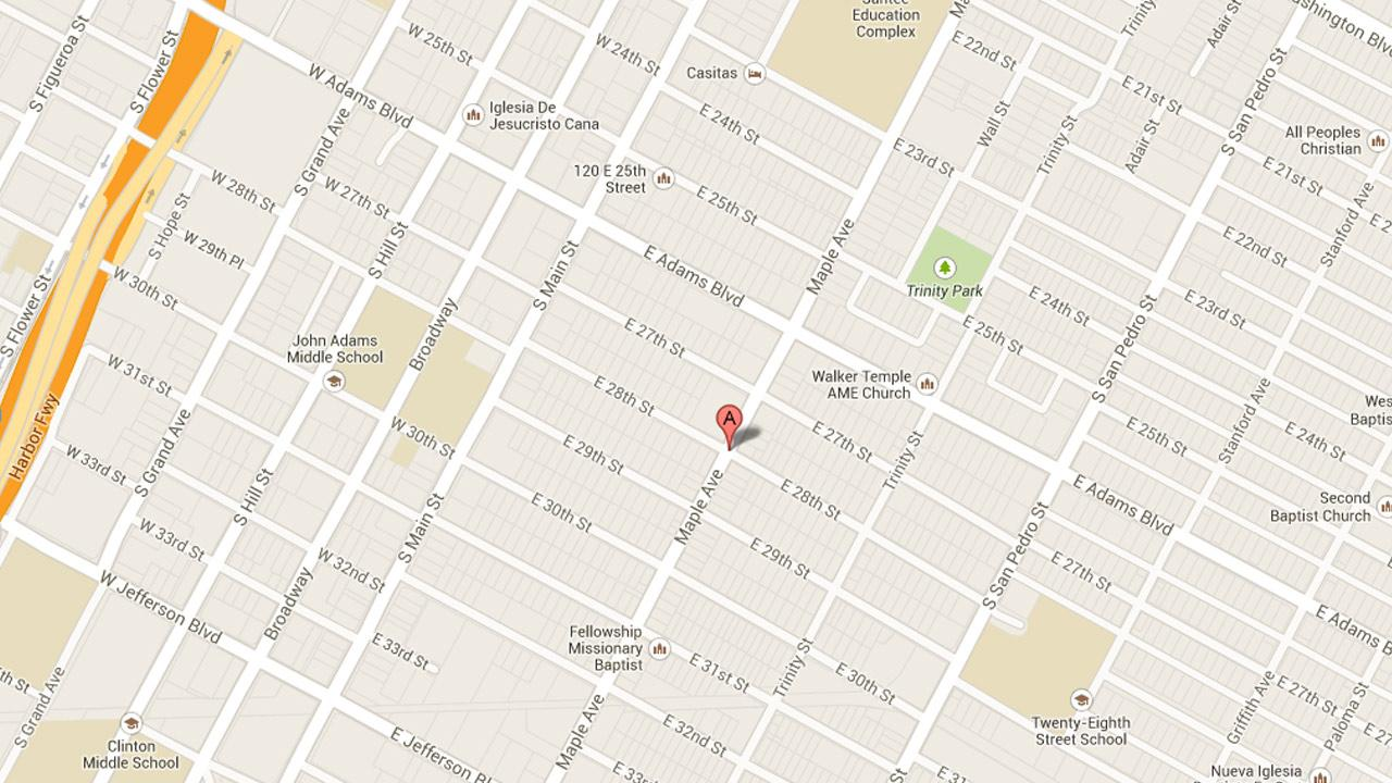 A map indicates the location of a fatal shooting near Maple Avenue and 28th Street in South Los Angeles on Monday, July 29, 2013.