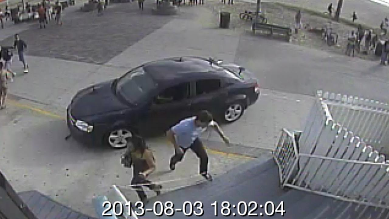 A nearby surveillance camera captured a suspect vehicle that police say hit a crowd of people on the Venice Beach boardwalk on Saturday, Aug,. 3, 2013. <span class=meta>(twitter.com&#47;snapchat)</span>