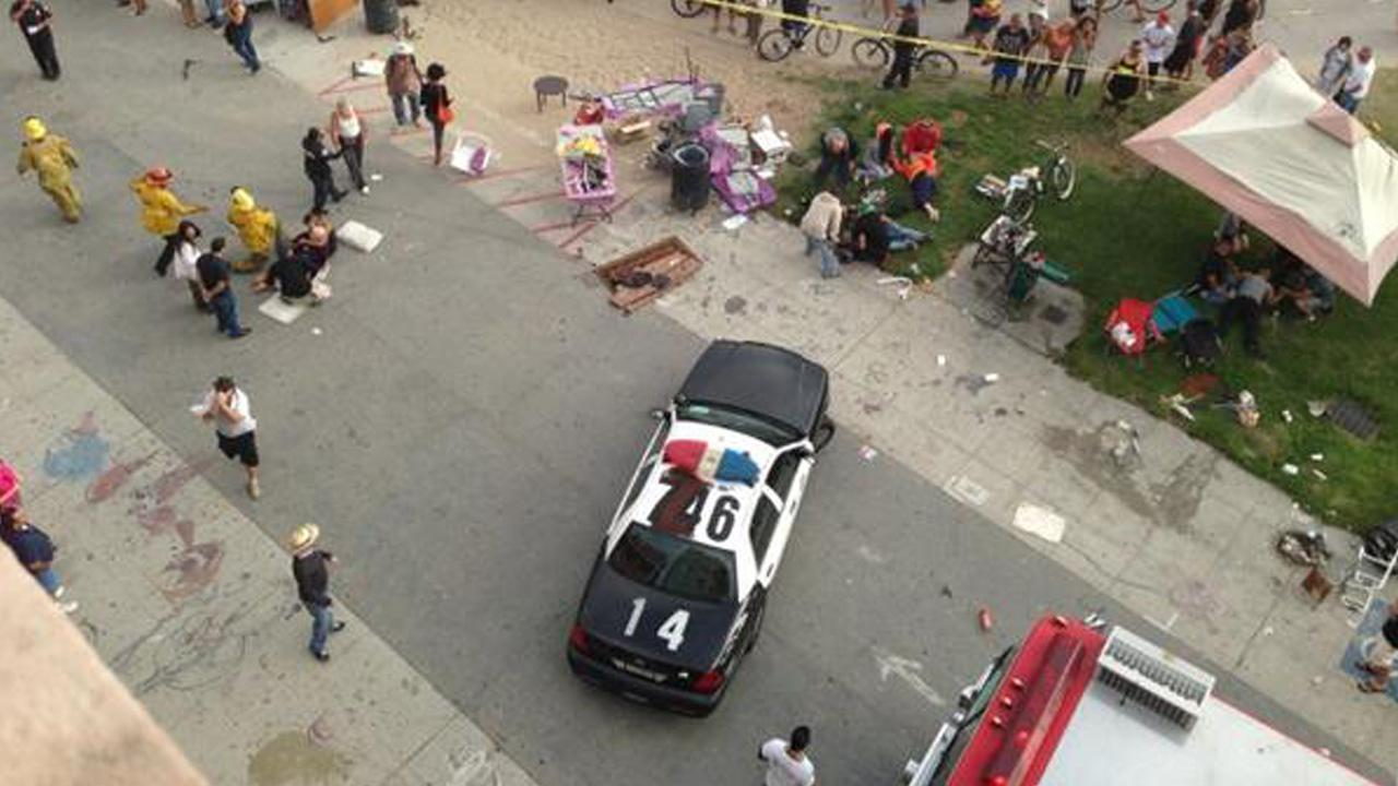 The scene at Venice Beach after a car reportedly struck a crowd of people on the boardwalk Saturday, Aug. 3, 2013. <span class=meta>(twitter.com&#47;madism40)</span>