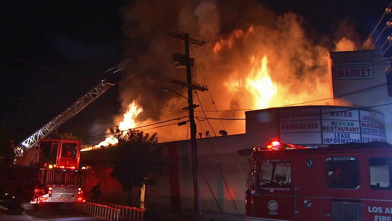 A fire rips through the Verdugo Ranch Market on the 3300 block of North Verdugo Road in Glassell Park on Sunday, Aug. 4, 2013.