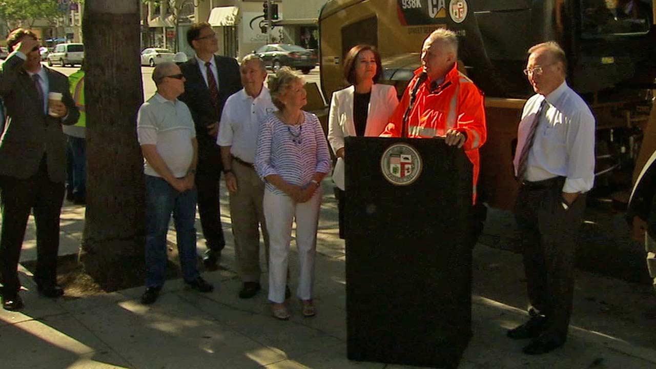 L.A. City Councilman Tom LaBonge announced the repair effort called Ventura Boulevard: Operation Street-Lift on Thursday, Aug. 8, 2013.