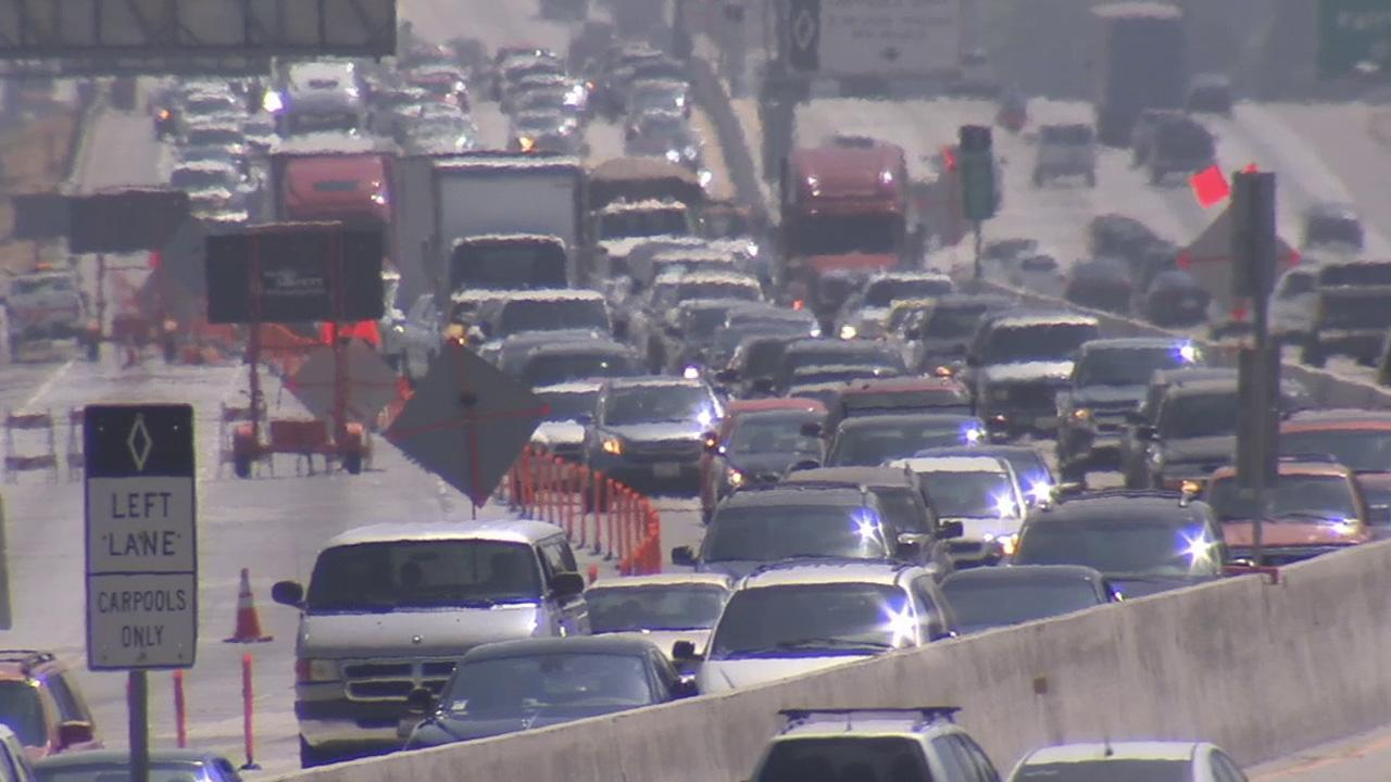 Traffic is seen on the 60 Freeway in this undated file photo.
