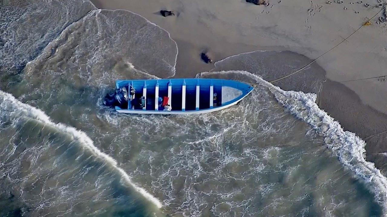 A panga boat was found abandoned about 100 feet south of Point Mugu Rock on Tuesday, Aug. 27, 2013.