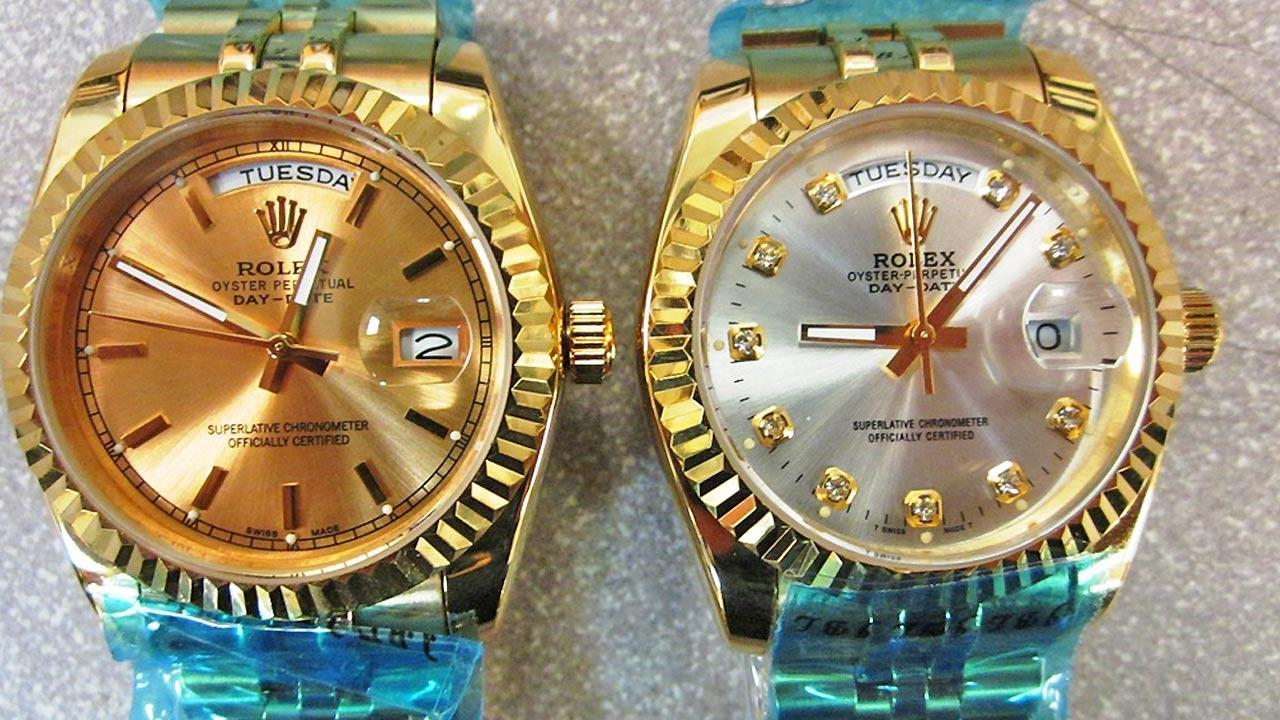 Fake Rolexes seized from a counterfeit batch of expensive watches on August 8, 2013.