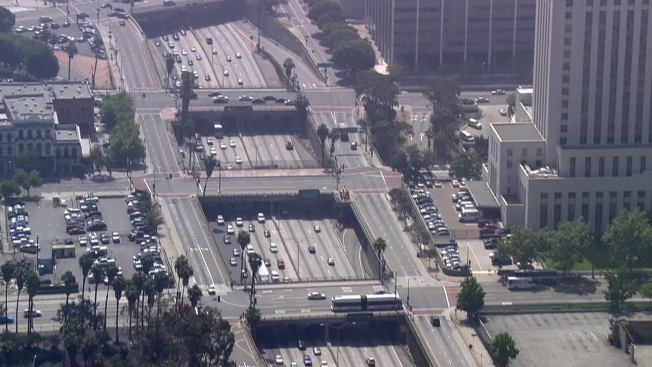 The 101 Freeway in downtown Los Angeles is seen in this undated file photo.