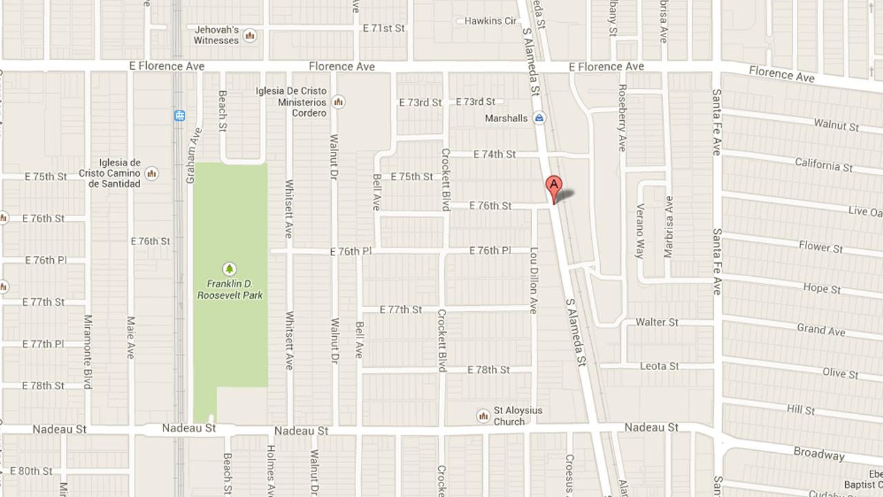 A map indicates the location where a man died in an alley at Alameda and 76th streets in Walnut Park on Monday, Sept. 2, 2013.