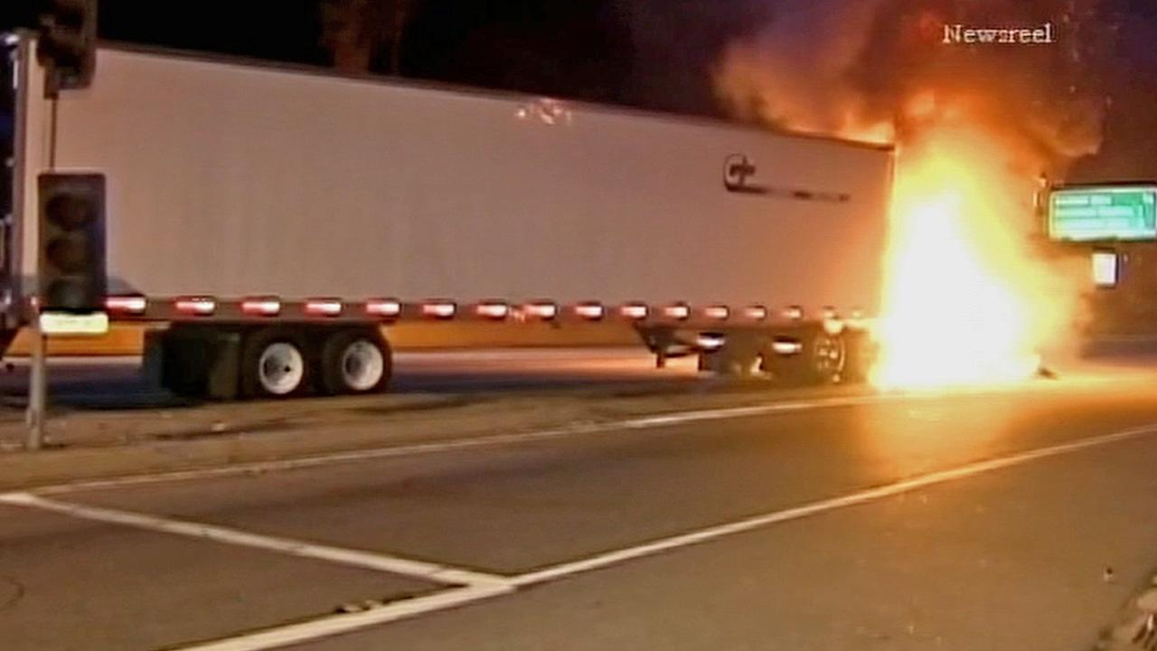 A big rig trucks cab caught fire on the northbound 101 Freeway in the Cahuenga Pass on Wednesday, Sept. 4, 2013.