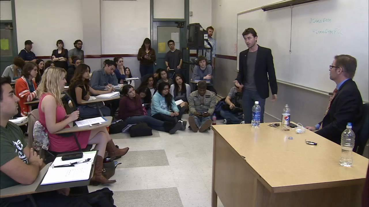 Hugo Schwyzer, a history and gender studies professor at Pasadena City College, is seen teaching with the help of adult film star James Deen.