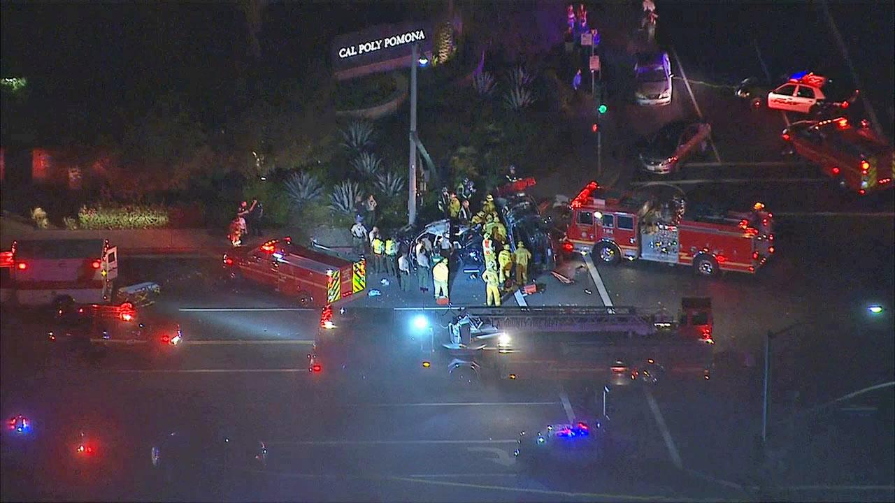 A crash involving a Los Angeles County Sheriffs Department patrol car injured three people, including two deputies, in Pomona on Wednesday, Sept. 18, 2013.