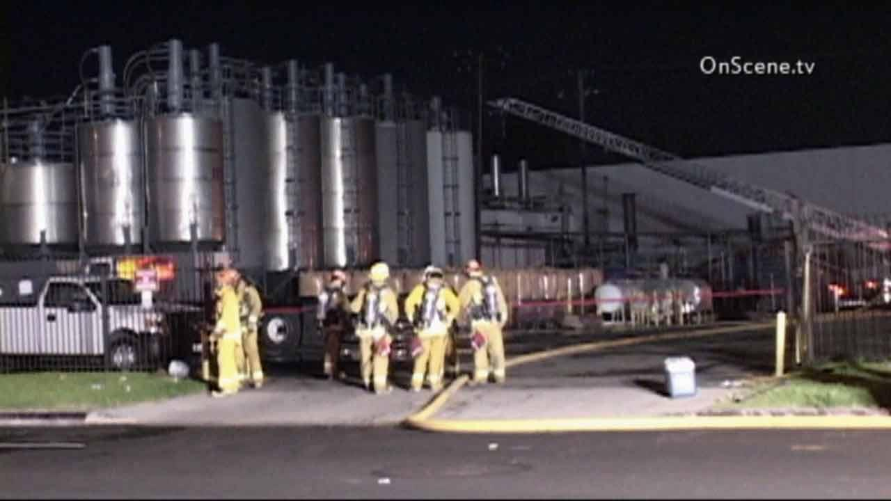 A fire broke out at a chemical plant in the 2200 block of East Del Amo Boulevard in Carson on Monday, Sept. 23, 2013.