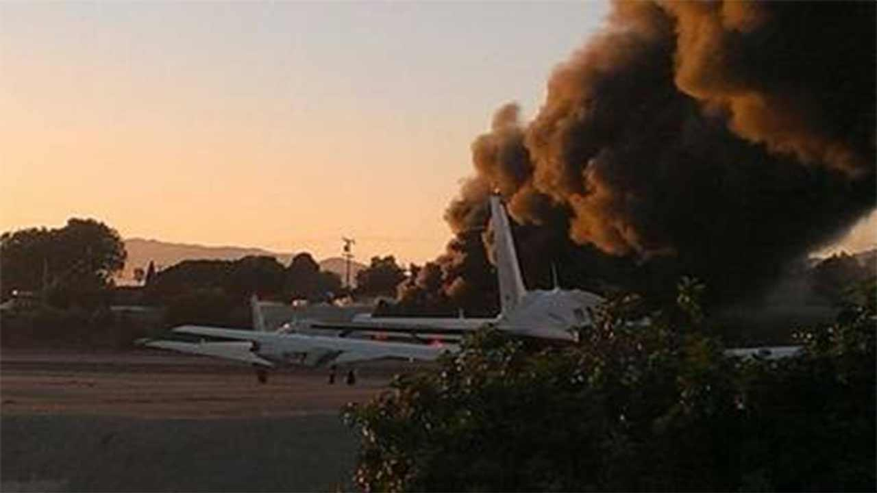 Smoke is seen following a small plane crash at Santa Monica Airport in the 3000 block of Donald Douglas Loop Sunday, Sept. 29, 2013. <span class=meta>(Twitter &#47; Valerie Vanderwest)</span>