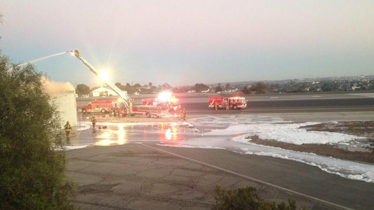 Firefighters respond to a plane crash at Santa Monica Airport on Sunday, Sept. 29, 2013.Twitter / Jack Bonner