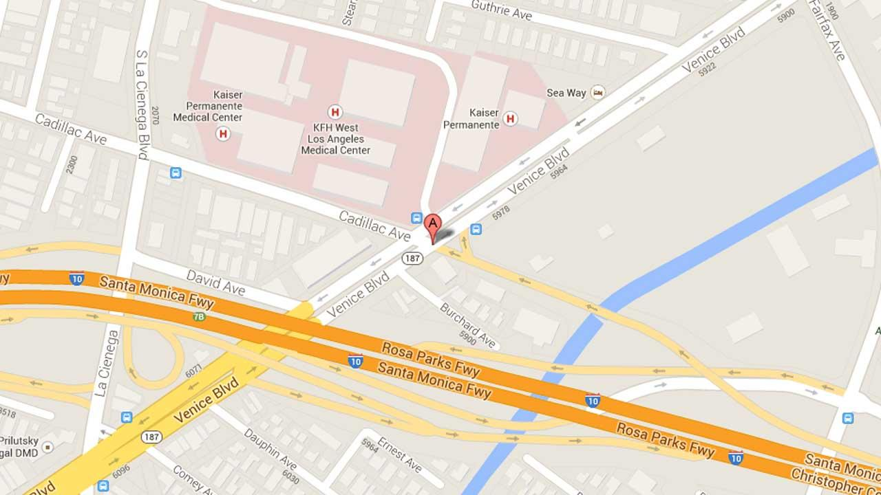 A map indicates the area near the intersection of Cadillac Avenue and Venice Boulevard in West Los Angeles where a deputy-involved shooting took place Sunday, Oct. 6, 2013.