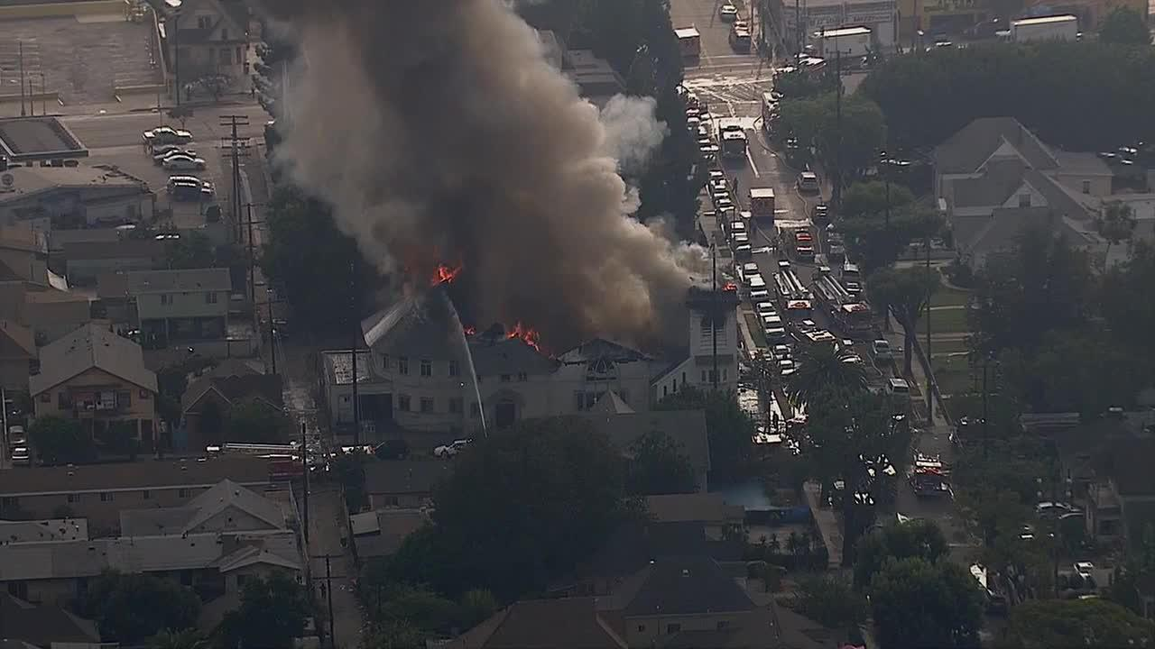 A historic church in Los Angeles that was built in 1895 went up in flames on Tuesday, Oct. 8, 2013.
