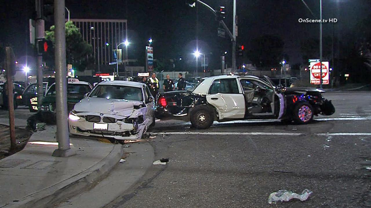 An LAPD cruiser collided with a BMW and a taxi in the 13000 block of Mindanao Way in Playa Del Rey on Sunday, Oct. 13, 2013.