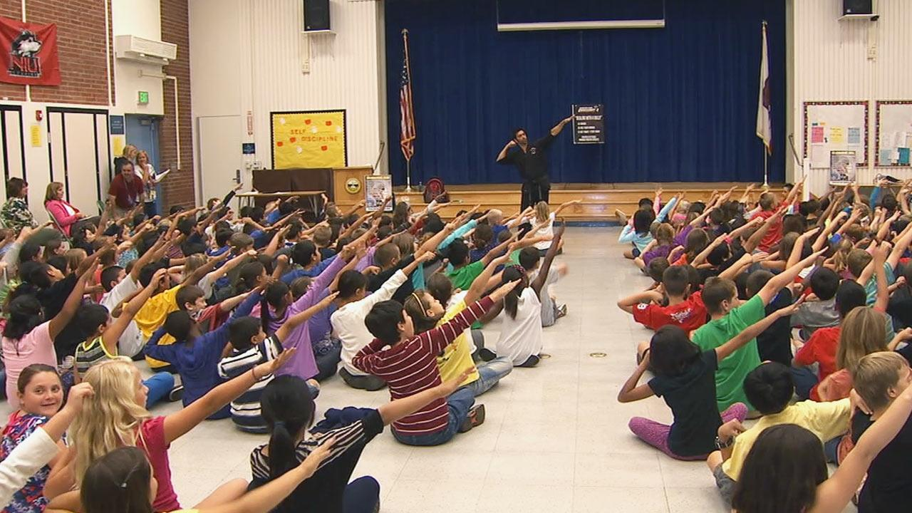 Mission: Bully Proof, a school-wide bullying prevention program led by celebrity martial arts instructor Chris Casamassa, launched at Sutherland Elementary School on Monday, Oct. 14, 2013.