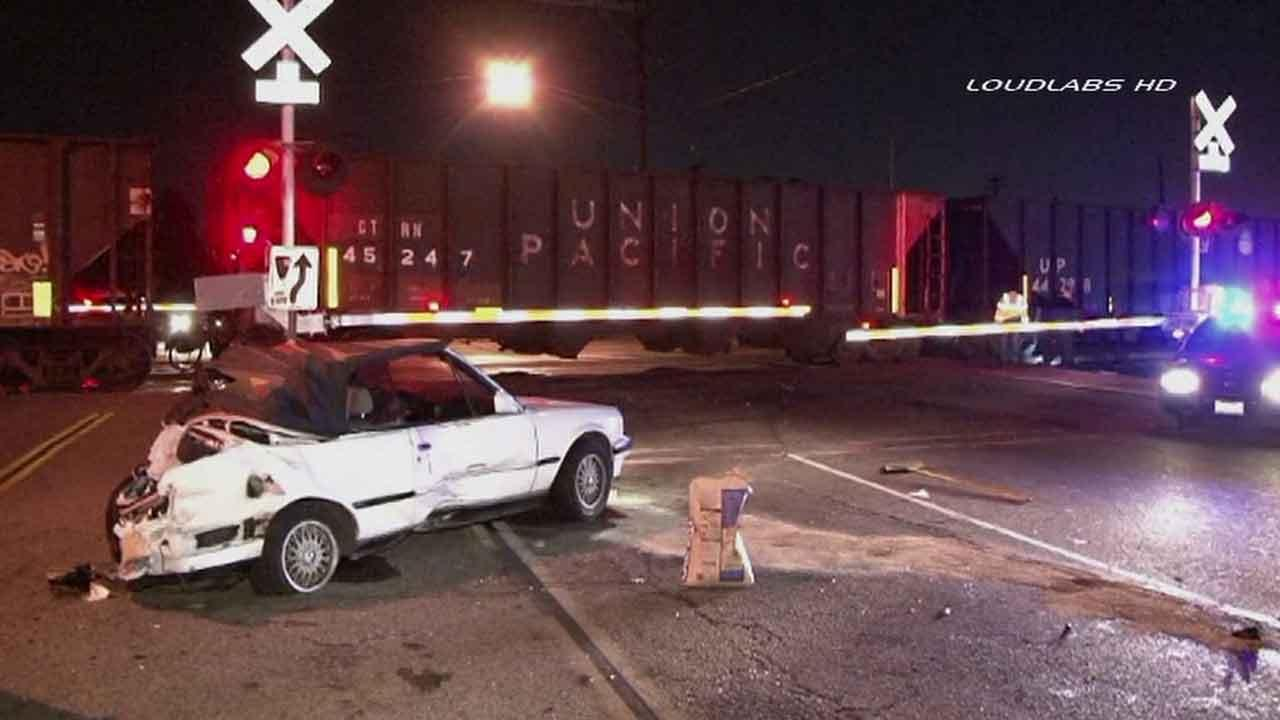 A freight train slammed into a car near the intersection of Olympic and Montebello boulevards in Montebello Saturday, Oct. 19, 2013.