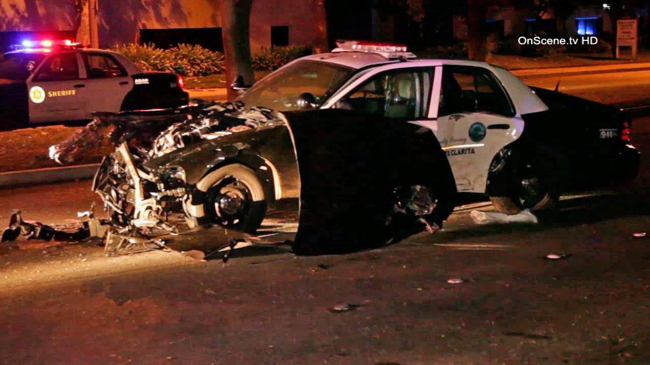A Los Angeles County sheriffs deputy was injured following a crash near McBean Parkway and Orchard Village Road in Santa Clarita Sunday, Oct. 20, 2013.