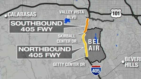 I-405 closed in Sepulveda Pass overnight Sat.
