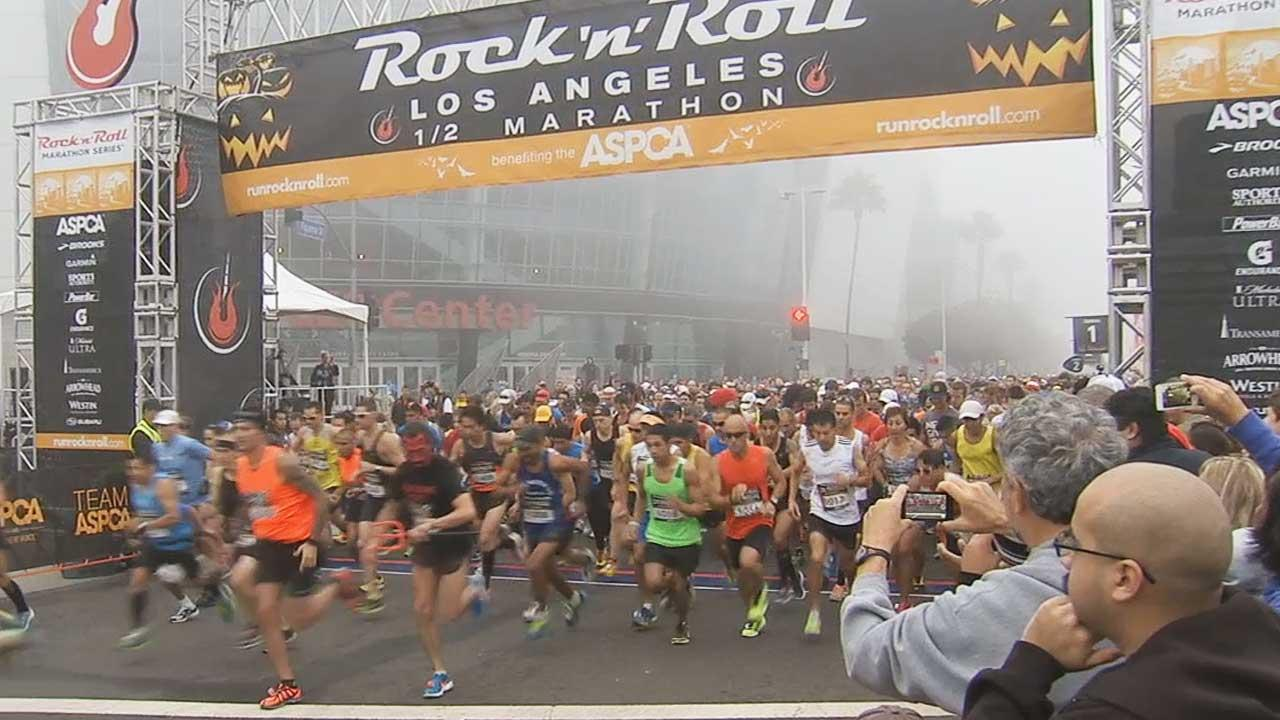 Thousands of people laced up their running shoes for the Rock N Roll Half-Marathon Sunday morning, October 27, 2013.