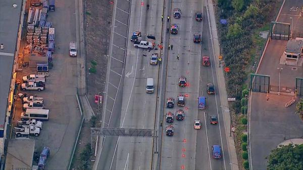 Contractor injured in freeway crash near LAX