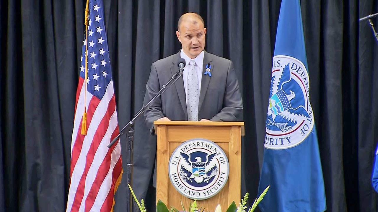 TSA Federal Security Director Darby LaJoye, LAX, speaks during the public memorial in honor of murdered TSA Officer Gerardo Hernandez on Tuesday, Nov. 12, 2013.