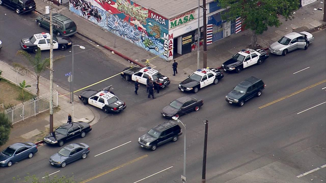 One person was wounded during an armed robbery in South Los Angeles Tuesday, Nov. 12, 2013.