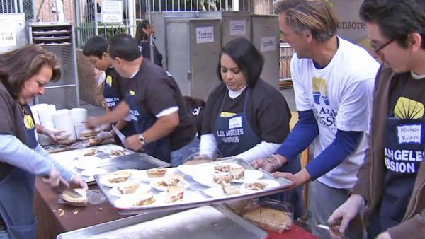 LA Mission cooks Thanksgiving for thousands
