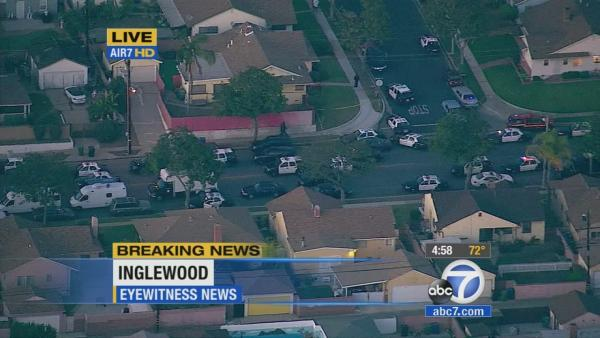1 Inglewood officer shot; suspect barricaded