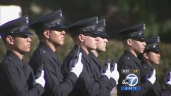 LAPD recruits are seen.