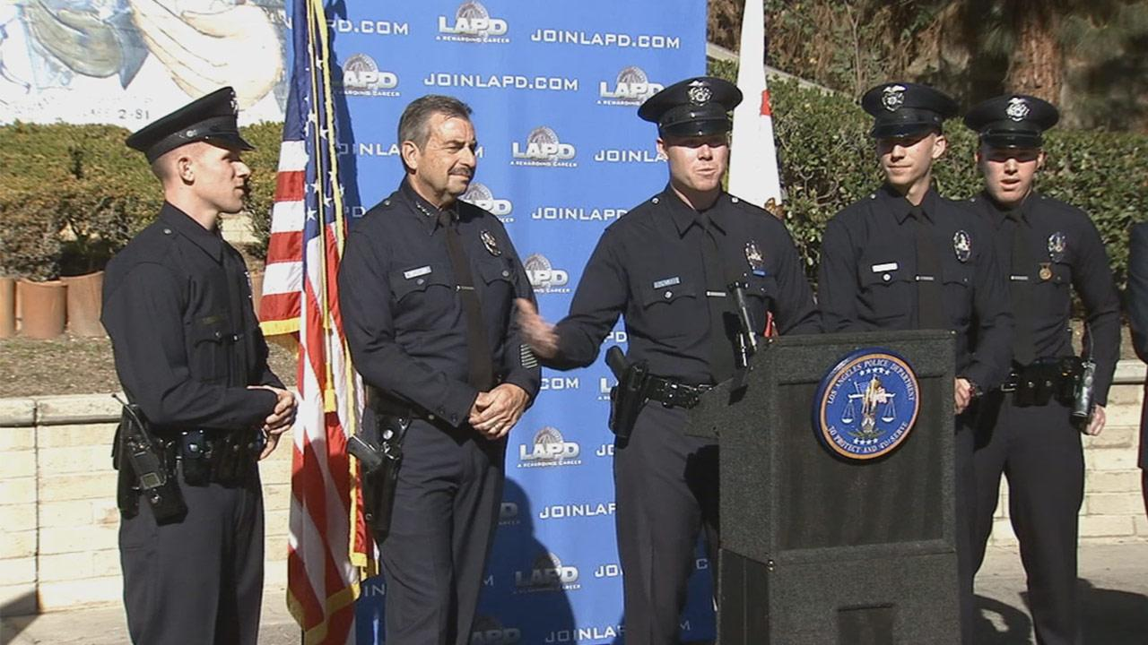 LAPD Chief Charlie Beck introduced the Secor brothers to the media on Thursday, Dec. 5, 2013. Theyre believed to be the first sibling quartet in the departments history.