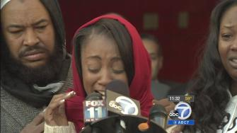 Sawan Mock, mother of a 7-year-old boy who was killed in a drive-by shooting in Mid-City, makes an emotional plea for the killer to come forward on Tuesday, Dec. 10, 2013.