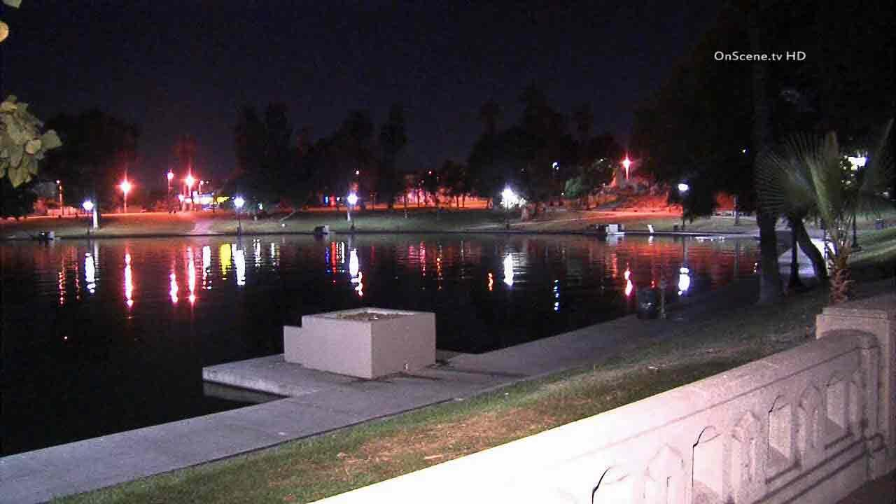 A body was found in the lake near Wilshire Boulevard at MacArthur Park on Monday, Dec. 29, 2013.