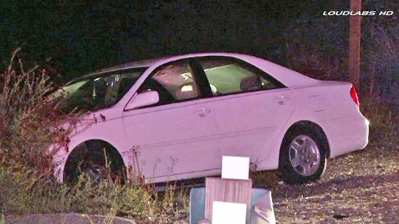 A carjacking suspect crashed the stolen vehicle on the northbound 2 Freeway near Foothill Boulevard in Glendale on Tuesday, Jan. 7, 2014.