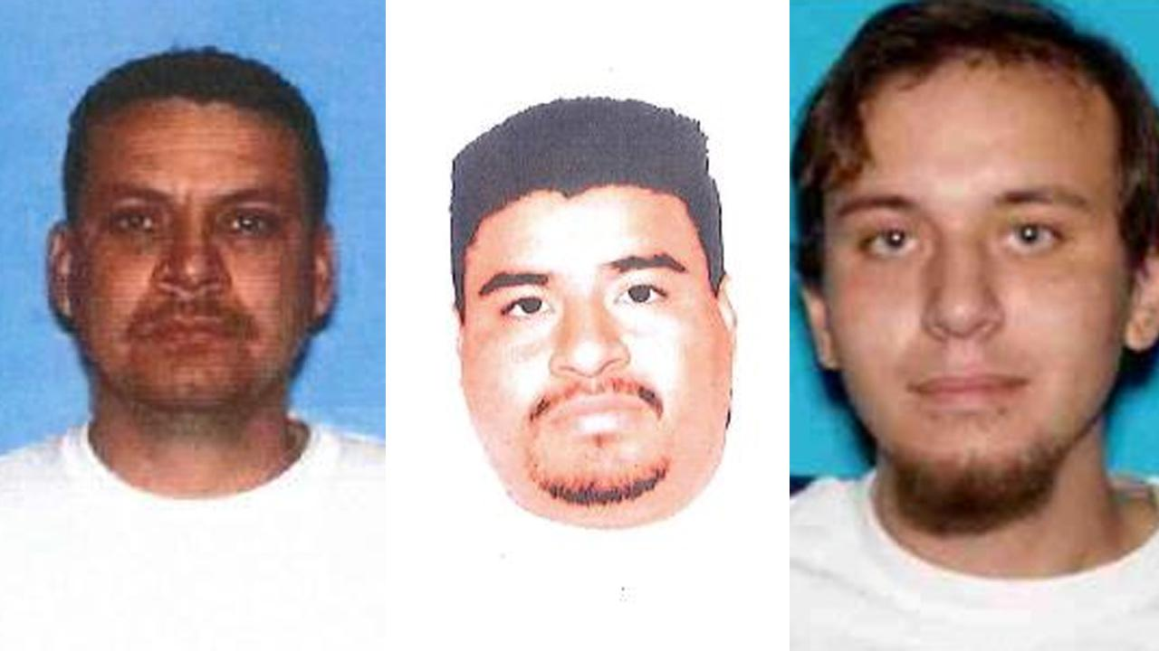 (Left to right) Jose Luis Pineda, Hector Huerta and Paul Angel Candelas are shown in undated file photos provided by the Montello Police Department. The three men are wanted for sexually abusing young girls.