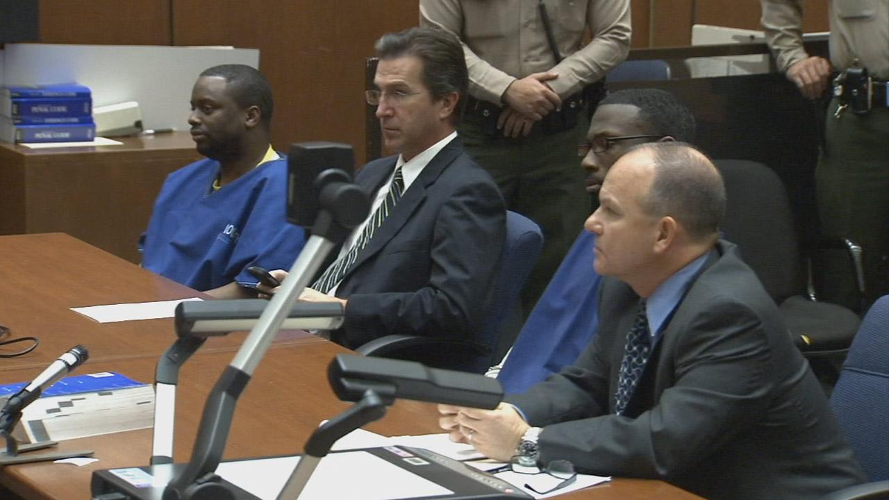 Daniel Hinton and Raymond Easter are seen at their sentencing hearing in Los Angeles on Friday, Jan. 10, 2014.