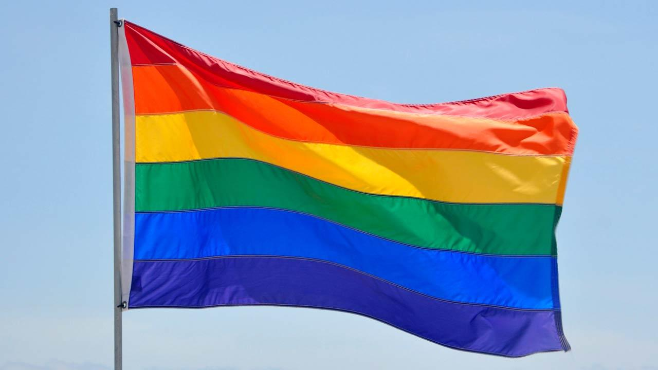 Undated photo of a rainbow flag