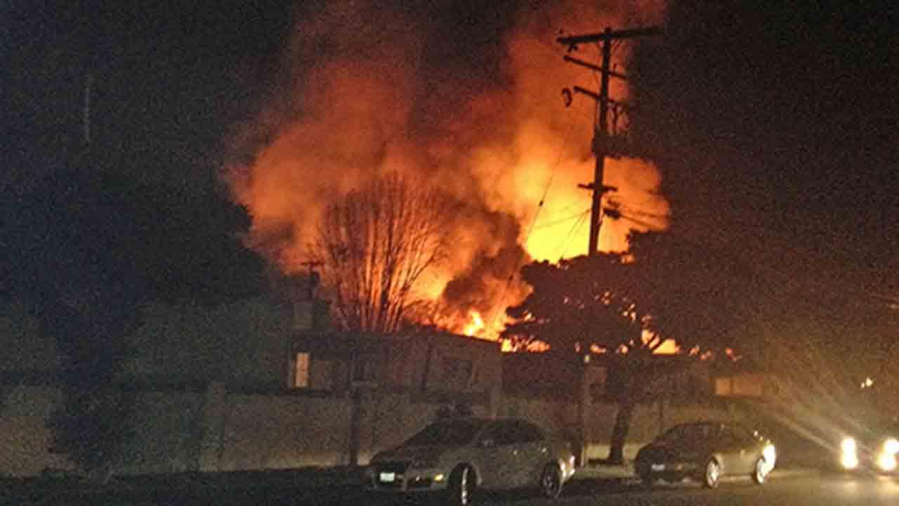 A fire erupted at a yard in the 1400 block of West Mission Boulevard in Pomona Sunday, Jan. 19, 2014.