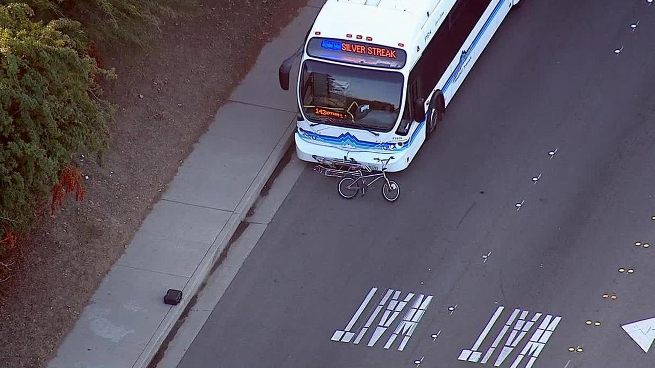 A bicyclist died after being struck by a bus in Pomona on Thursday, Jan. 23, 2014.