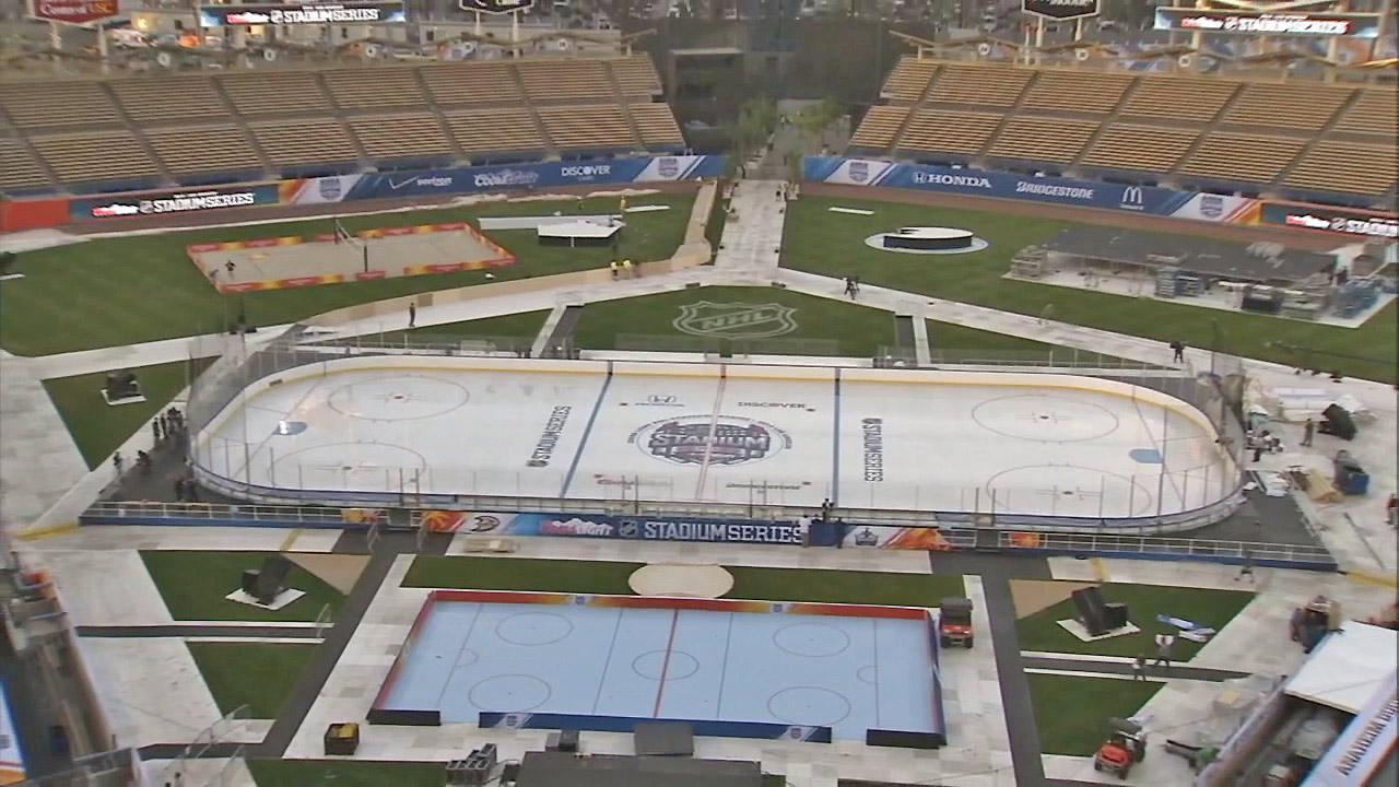The field at Dodger Stadium is seen set up for the Stadium Series with the L.A. Kings and Anaheim Ducks on Saturday, Jan. 25, 2014.