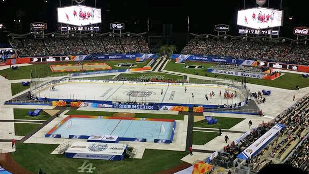 An ABC7 viewer shared this photo of the Ducks and Kings battling it out on the ice during the Stadium Series at Dodger Stadium on Saturday, Jan. 25, 2014. <span class=meta>(twitter.com&#47;BreezyCPL)</span>
