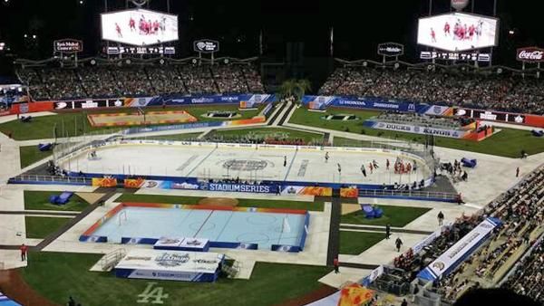 An ABC7 viewer shared this photo of the Ducks and Kings battling it out on the ice during the Stadium Series at Dodger Stadium on Saturday, Jan. 25, 2014.