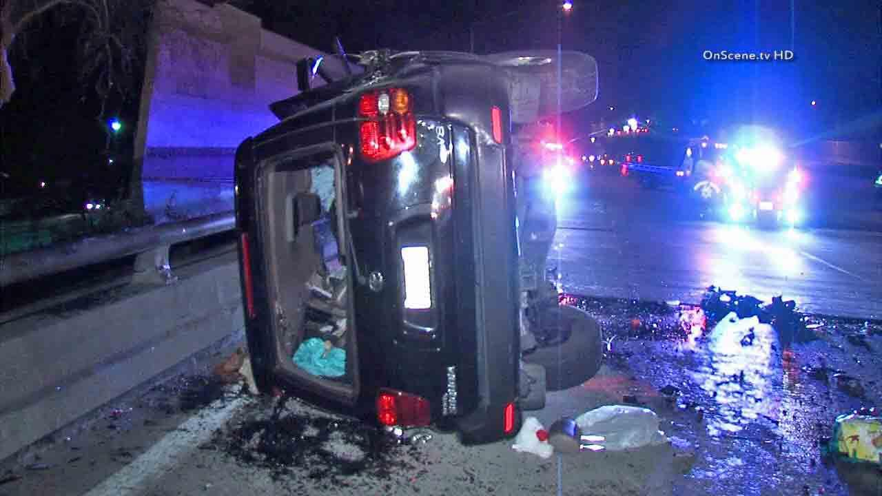 A man wanted for speeding led officers on a pursuit, triggering a wrong-way crash near Victory Boulevard on the 405 Freeway in Van Nuys Sunday, Feb. 2, 2014.