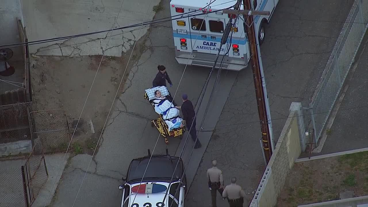 A suspect was shot during a confrontation with sheriffs deputies in Pico Rivera Tuesday, Feb. 4, 2014.