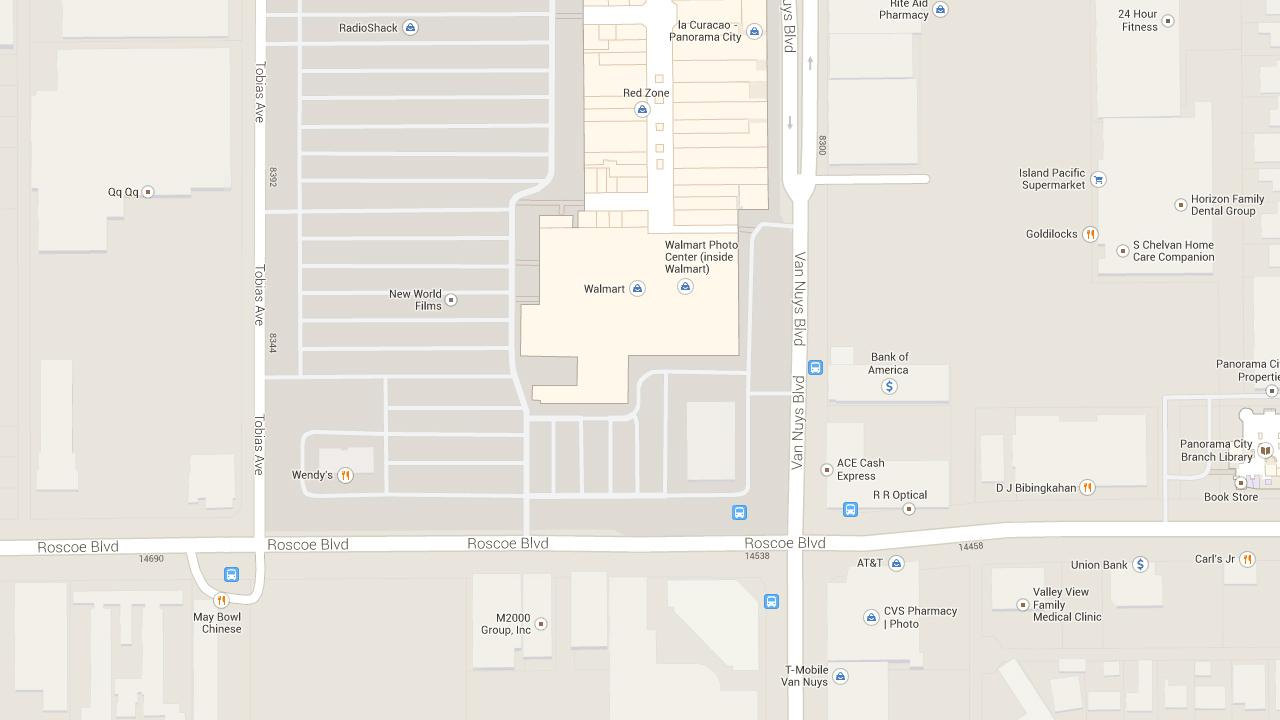 This Google Maps image shows the approximate location where three pedestrians were hit by a vehicle in Panorama City on Tuesday, Feb. 18, 2014.
