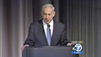 Israeli Prime Minister Benjamin Netanyahu speaks at the Simon Wiesenthal Centers Museum of Tolerance on Thursday, March 6, 2014.