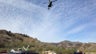 Crews rescue a missing hiker in Towsley Canyon in Santa Clarita on Tuesday, March 11, 2014.
