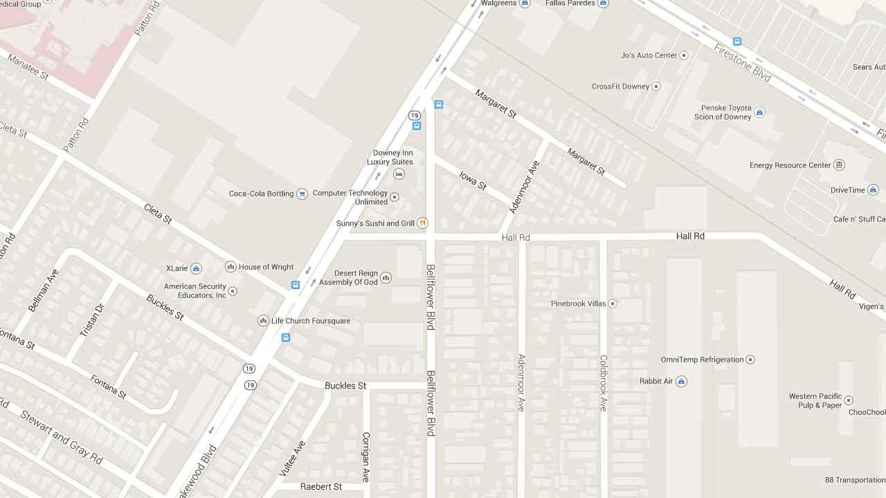 A map indicates the area near the 11600 block of Bellflower Boulevard in Downey where a man was fatally shot Tuesday, March 25, 2014.