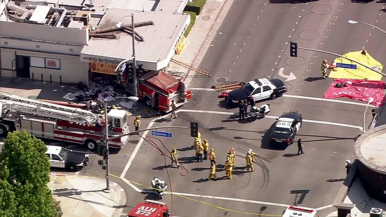 Multiple people were injured when a Monterey Park fire truck crashed into a building at the intersection of Emerson and Garfield avenues in Monterey Park Wednesday, April 16, 2014.